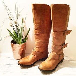 {Steve Madden} Tall Rustic Buckle Riding Boots